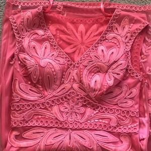 CACHE stunning pink lace dress,4,new and UNIQUE!!